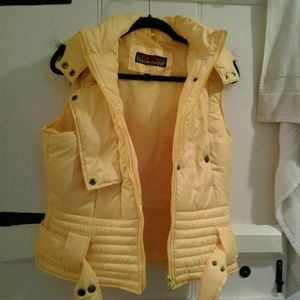 Yellow Hooded Puffer Vest